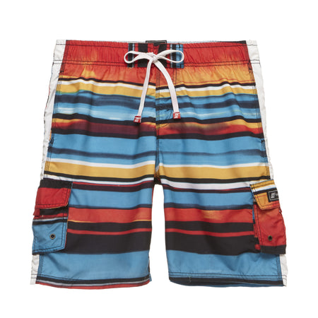 Retro Wave Print Swim Trunks