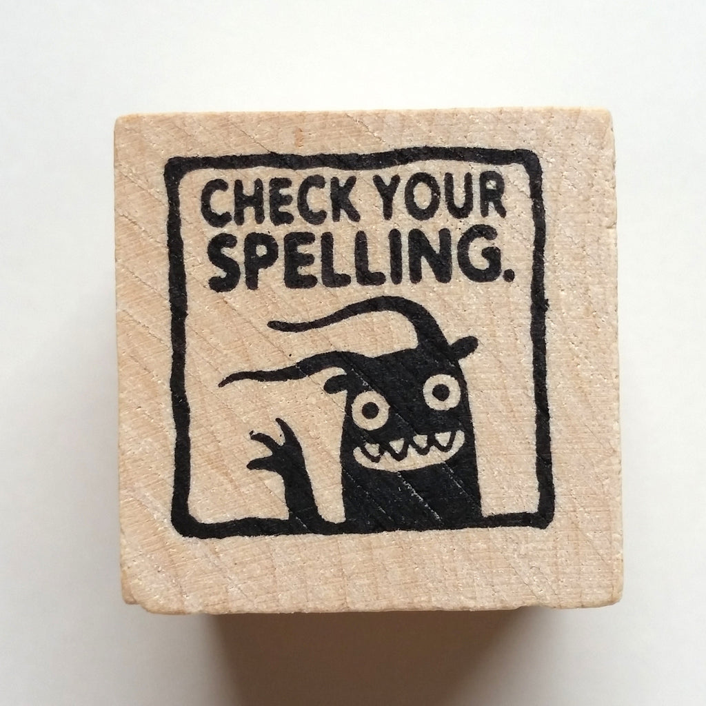 Check Your Spelling - Teacher Rubber Stamp - fishcakes