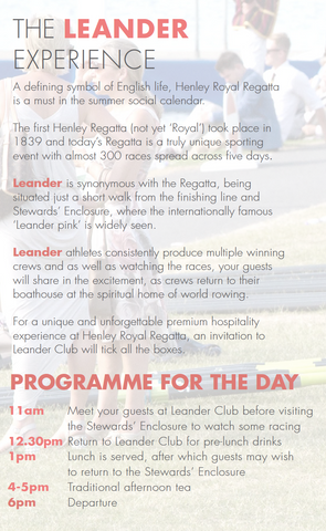 The Leander Club Experience with Digby Fine English:  Sunday 2nd July 2017