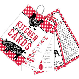 Red Gingham Kitchen Conversion Cards