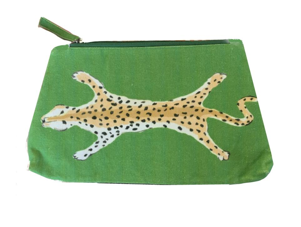 Green Leopard Cosmetic Bag