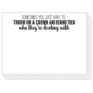 Throw On A Crown Mini Slab Notepad