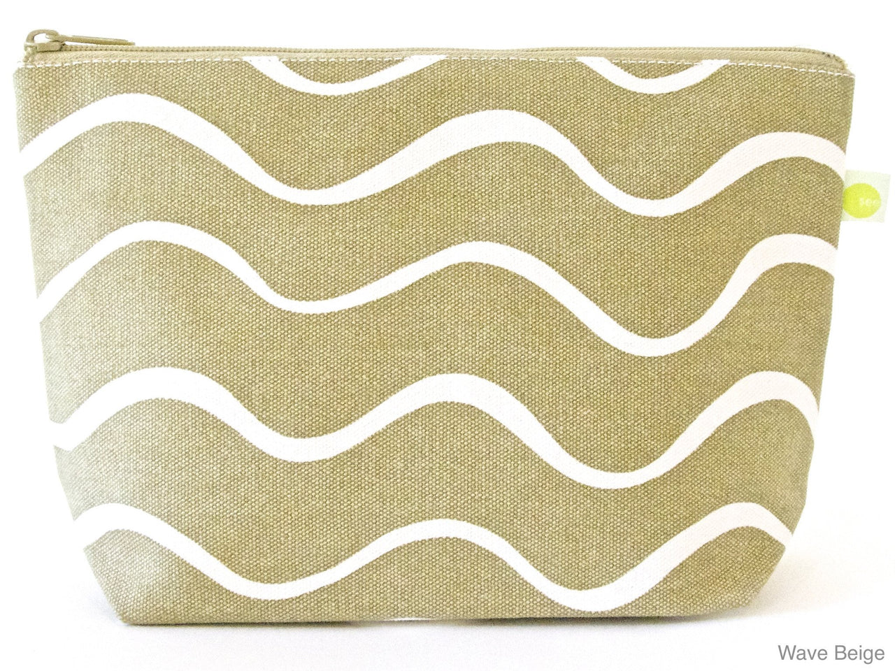 Wavy Beige Large Travel Pouch