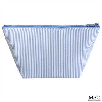 Blue Seersucker Cosmetic Bag