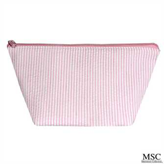 Pink Seersucker Cosmetic Bag