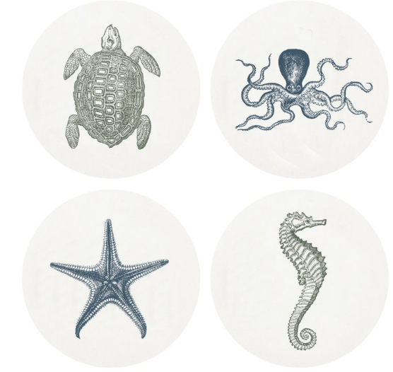 Sealife Letterpress Coasters