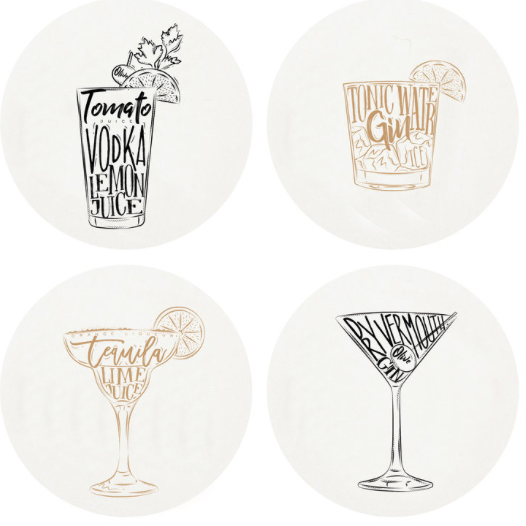 Cocktails Letterpress Coasters