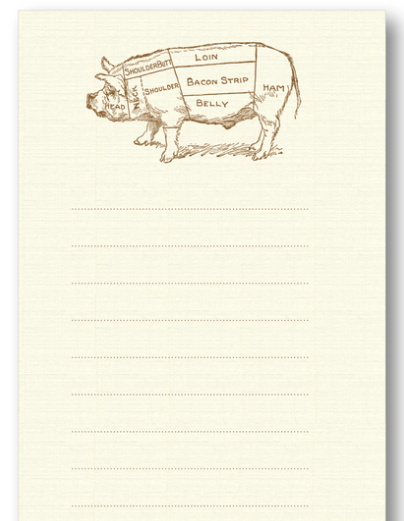 Bucher's Pig Long Notepad