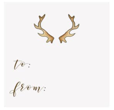 Antler Holiday Gift Tags, Set of 10