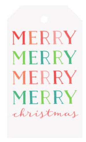 Merry Merry Colorblock Holiday Gift Tags