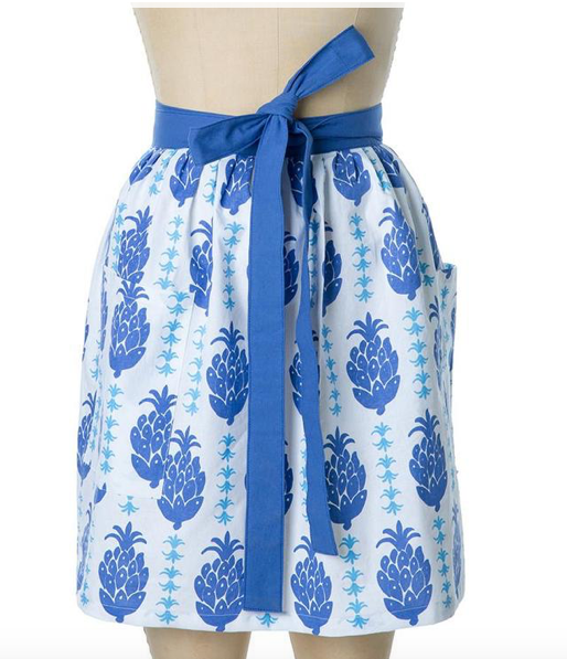 Blue Pineapple Half Apron