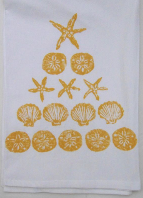 Gold Shell Tree Kitchen Towel