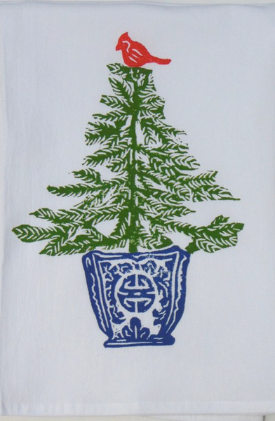 Spruce Fir with Cardinal Kitchen Towel