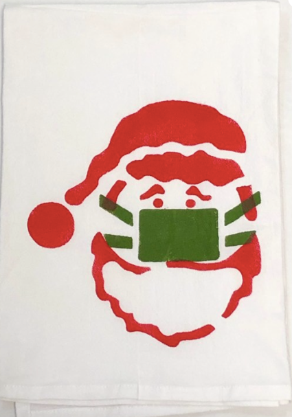 Santa with Mask Kitchen Towel