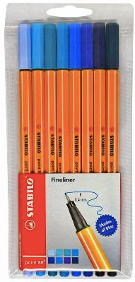 Stabilo Pack of 8 Shades of Blue Fineline Pens