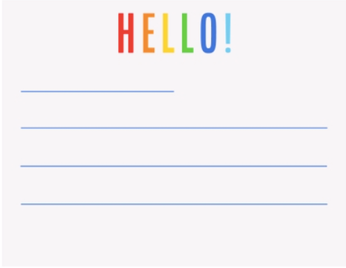 Hello Lined Notecards Box Set - Primary Colors