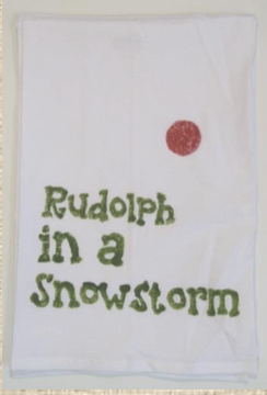 Rudolph In A Snowstorm Kitchen Towel