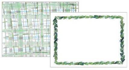 Greenery with Plaid Back Flat Notecards