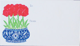 Blue Chinoiserie Red Amaryllis Gift Enclosure Cards