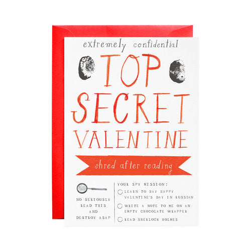 Top Secret Valentine's Greeting Card