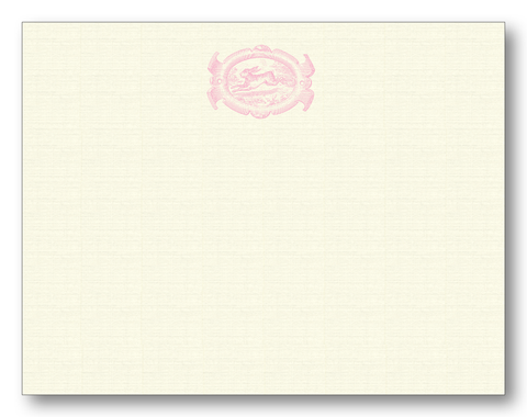 English Hare Oval in Pink Notecards