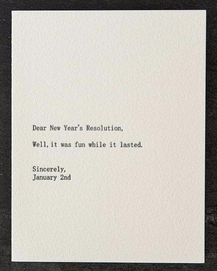 Dear New Years Resolution Card