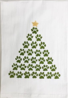 Paw Print Christmas Tree Kitchen Towel