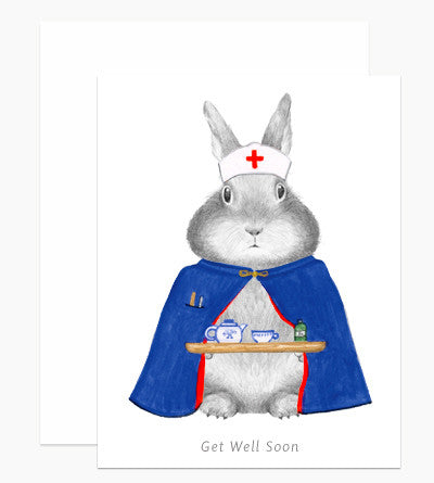 Get Well Bunny Nurse Card