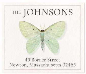green morpho address label