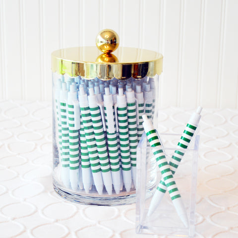 preppy striped ball point pen- green