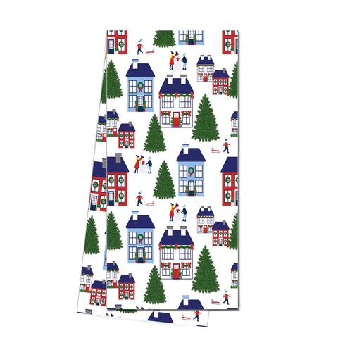 Holiday Village Tea Towel