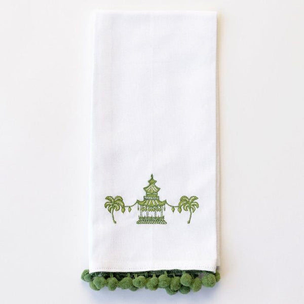 Green Pagoda Hand Towel