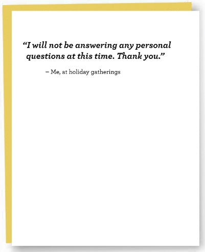 Personal Questions Card