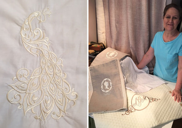 Seamstress Anna Goodman with embroidered examples