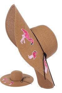 Flamingo Wide Brim Straw Hat