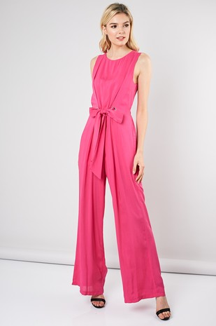 Eyelet Front Jumpsuit in Hot Pink