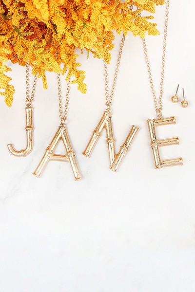 Cast Metal Alphabet Pendant Necklace/Earrings Set