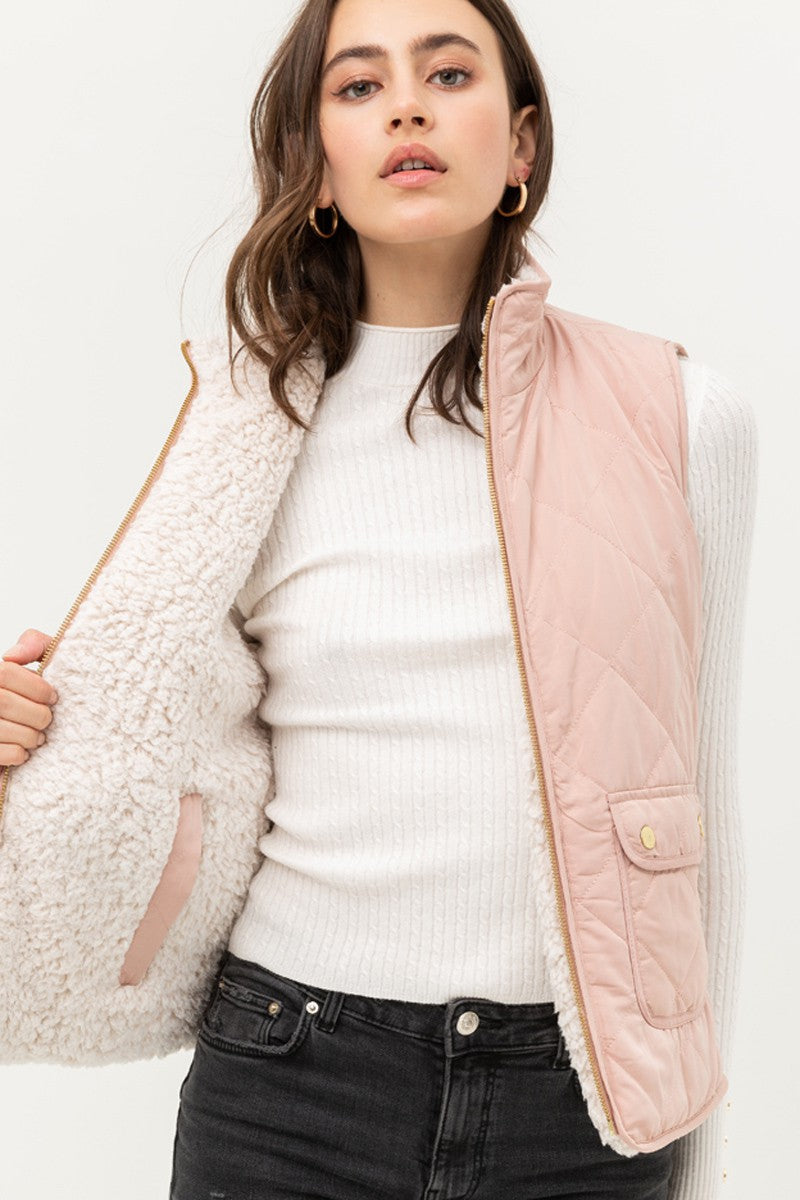 Reversible Sherpa/Quilted Vest