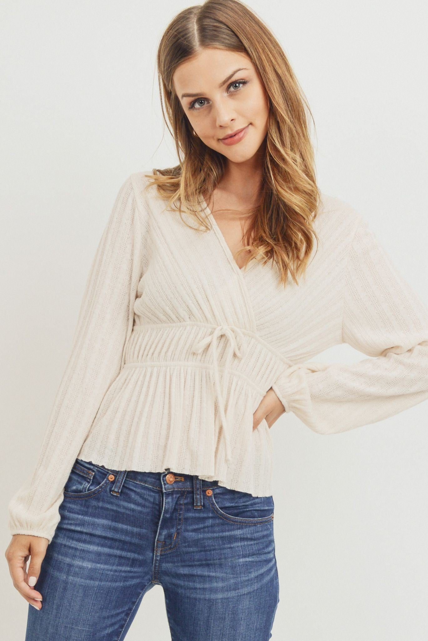 Knit Long-Sleeved Wrap Top