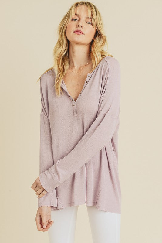 Dusty Lilac Henley Top with Metal Grommets