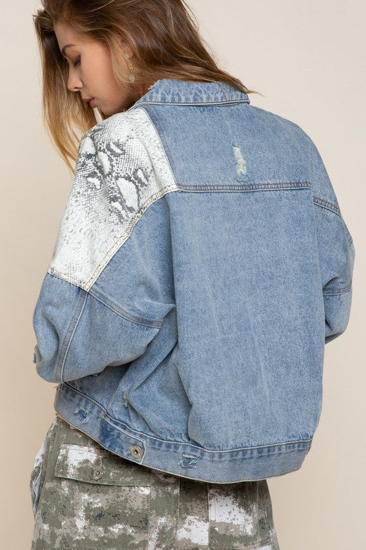 Ivory Snake Denim Jacket