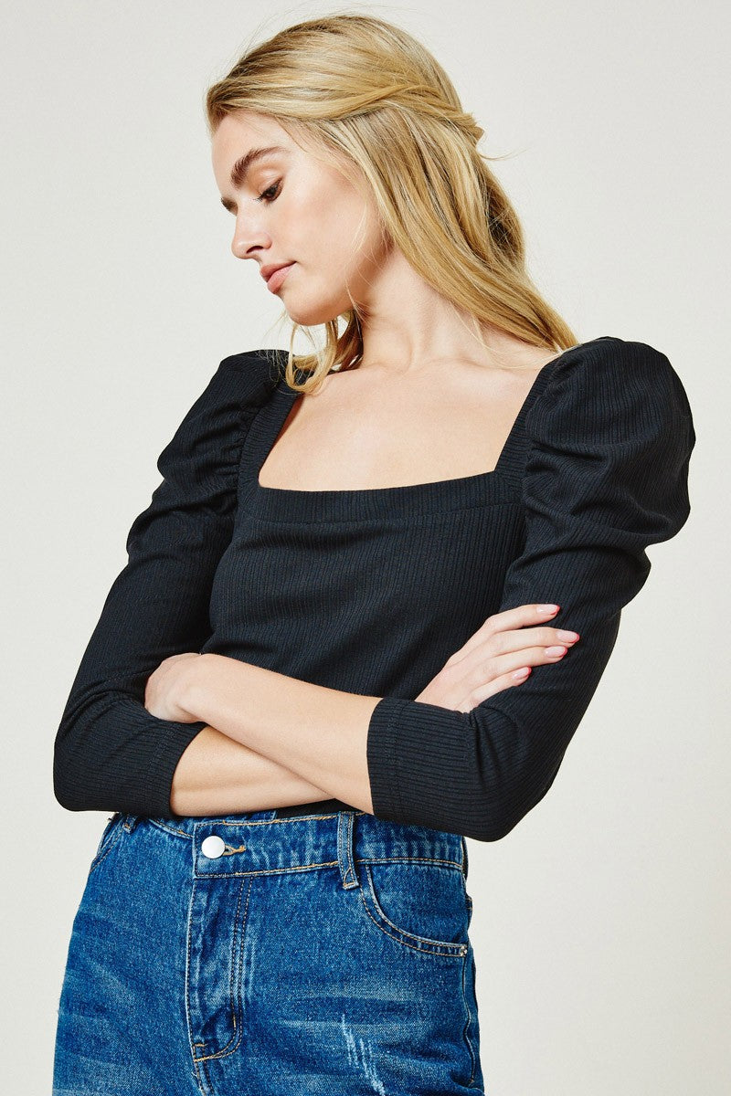 Knit Puff Shoulder Top