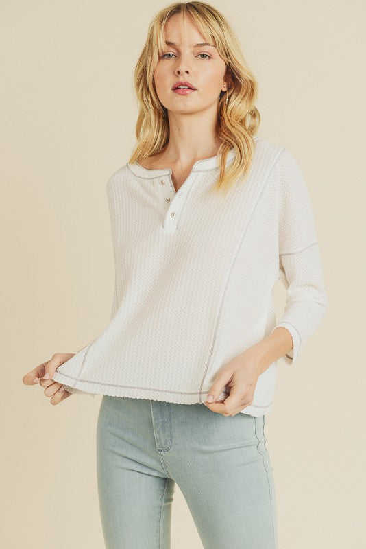 Contrast Stitched Waffle Knit Top