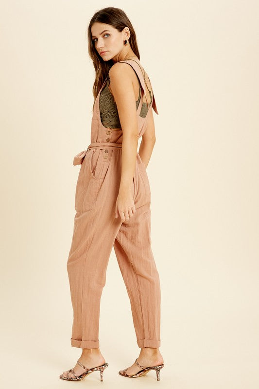 Self-Tie Washed Overall Jumpsuit