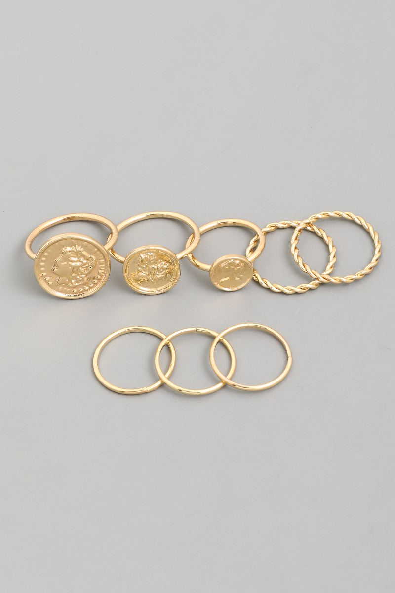 Gold Signet Coin Ring Set