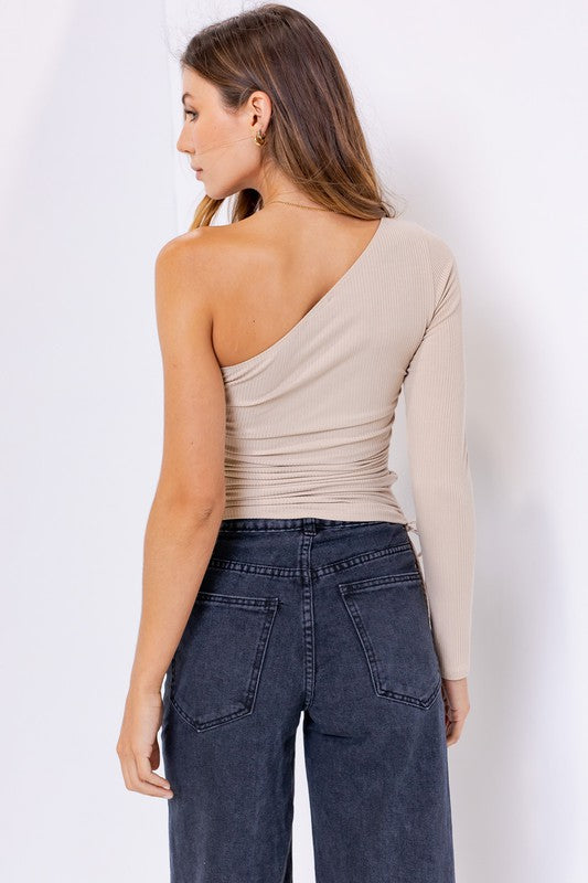 Solid Long Sleeve One-shoulder Top