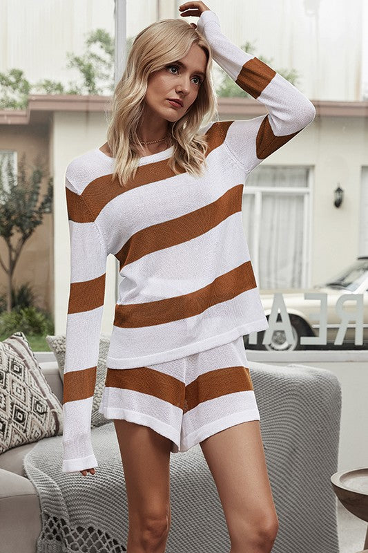 Caramel Striped Knit Top