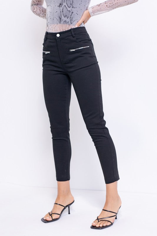 Zipper Pocket Slim Twill Pants