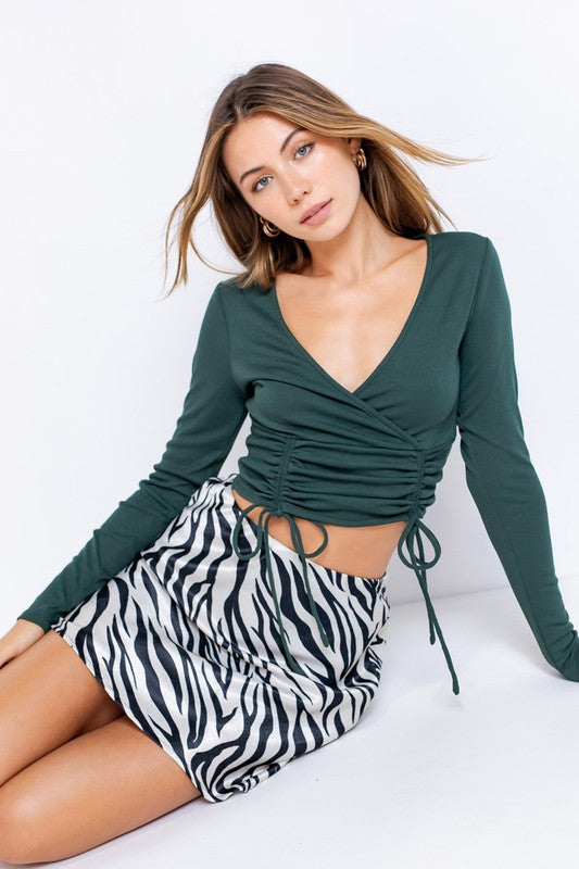 Long Sleeve Surplice Ruched Knit Top