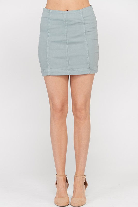 Paneled Stretch Mini Skirt